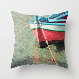 Pastel boat Throw Pillow