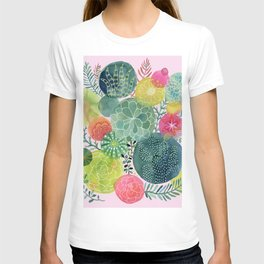 Succulent Circles on Pink T-shirt