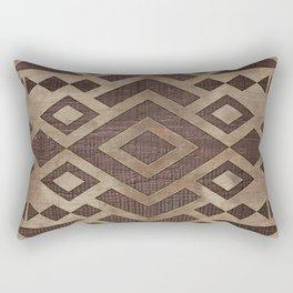 Ethnic Geometric Wooden texture pattern Rectangular Pillow