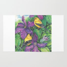 Goldfinches and Purple Clematis Rug