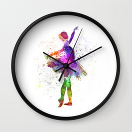 Young woman ballerina ballet dancer dancing with tutu Wall Clock