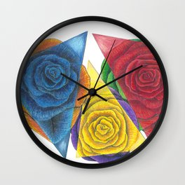 Complimentary Color Rose Trio With Geometric Triangles Wall Clock