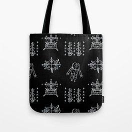 Papa Legba + Baron Samedi + Gran Bwa + Damballah-Wedo Voodoo Veve Symbols in Black Tote Bag