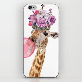 Giraffe in crown of flowers iPhone Skin