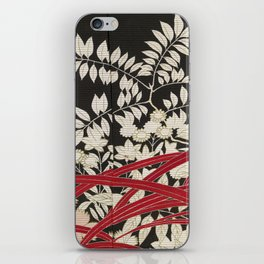 Kuro-tomesode with a Pair of Pheasants in Hiding (Japan, untouched kimono detail) iPhone Skin