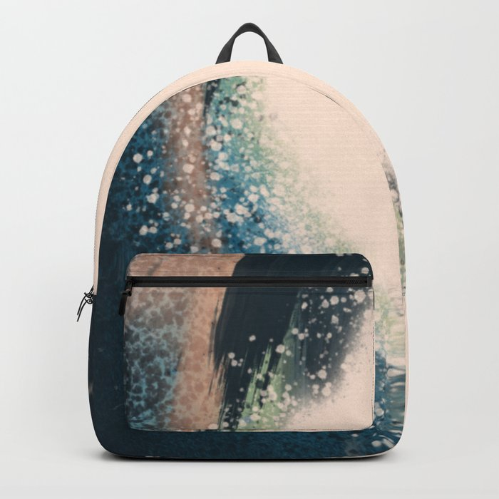 Expanse: a bold, abstract mixed media piece in blues, green, and peach Backpack