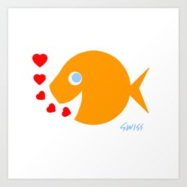 Cute Goldfish in Love Art Print