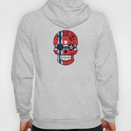 Sugar Skull with Roses and Flag of Norway Hoody