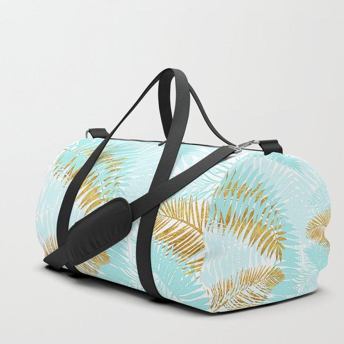 Aloha - Tropical Palm Leaves and Gold Metal Foil Leaf Garden Duffle Bag