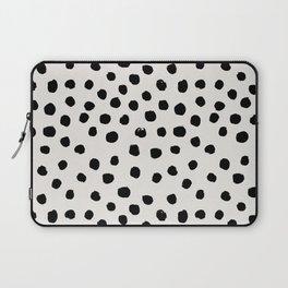 Preppy brushstroke free polka dots black and white spots dots dalmation animal spots design minimal Laptop Sleeve