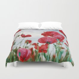 Field of Poppies Against Grey Sky Duvet Cover