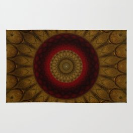 Mandala in copper and red tones Rug