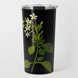 Plumbago Zeylanica Mary Delany Floral Paper Collage Delicate Vintage Flowers Travel Mug