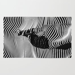 Minimalist Abstract Modern Ripple Lines Projected Woman Sensual Cool Feminine Black and White Photo Rug