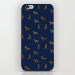 Navy & Gold Puppies iPhone Skin