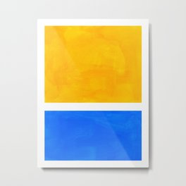 Primary Yellow Cerulean Blue Mid Century Modern Abstract Minimalist Rothko Color Field Squares Metal Print