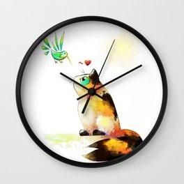 The cat and the hummingbird Wall Clock