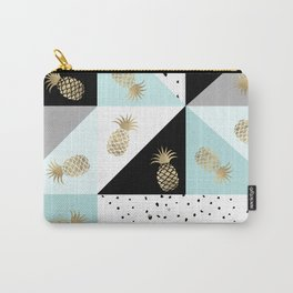 Pastel color block watercolor dots faux gold pineapple Carry-All Pouch