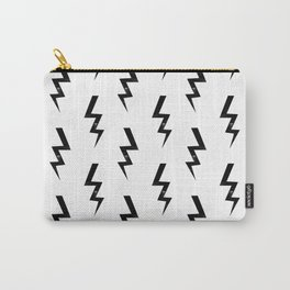 Bolts lightning bolt pattern black and white minimal cute patterned gifts Carry-All Pouch