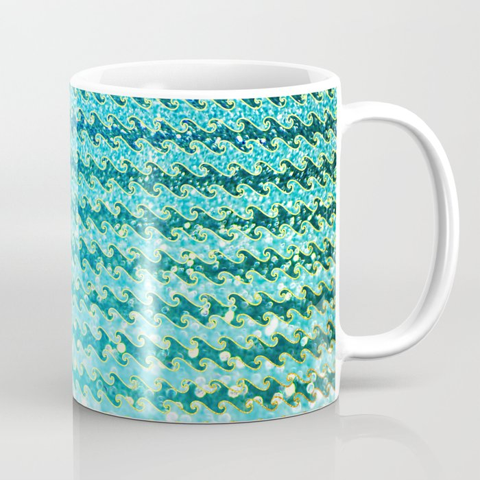 Mermaid Waves and Sea Foam, Sun Light over the Ocean Coffee Mug