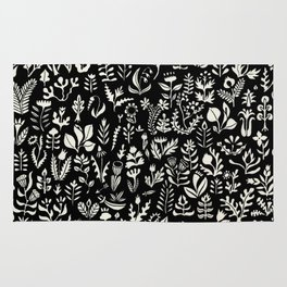 Black and white botanical pattern Rug