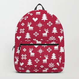 PIXEL PATTERN - WINTER FOREST RED Backpack