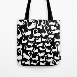 White cats on black Tote Bag