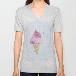Ice cream Love Summer Watercolor Illustration Unisex V-Neck