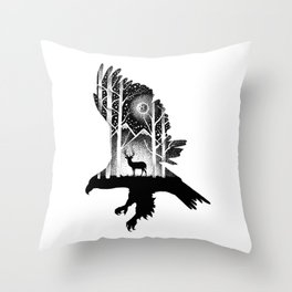 THE EAGLE AND THE DEER Throw Pillow