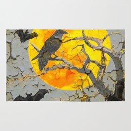 HALLOWEEN NIGHT BATS & RAVEN GOLDEN  MOON Rug