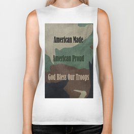 American Made, American Proud, God Bless Our Troops Biker Tank