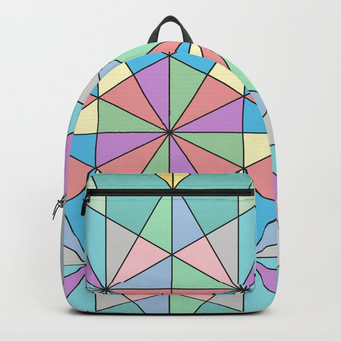 Colorful Pastel Mosaic Triangle Star Backpack
