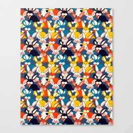 Rabbit colored pattern no2 Canvas Print