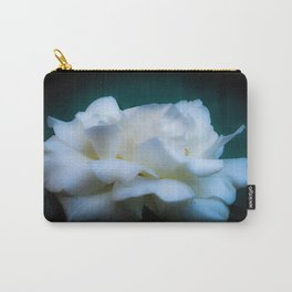 Satin White Rose Carry-All Pouch