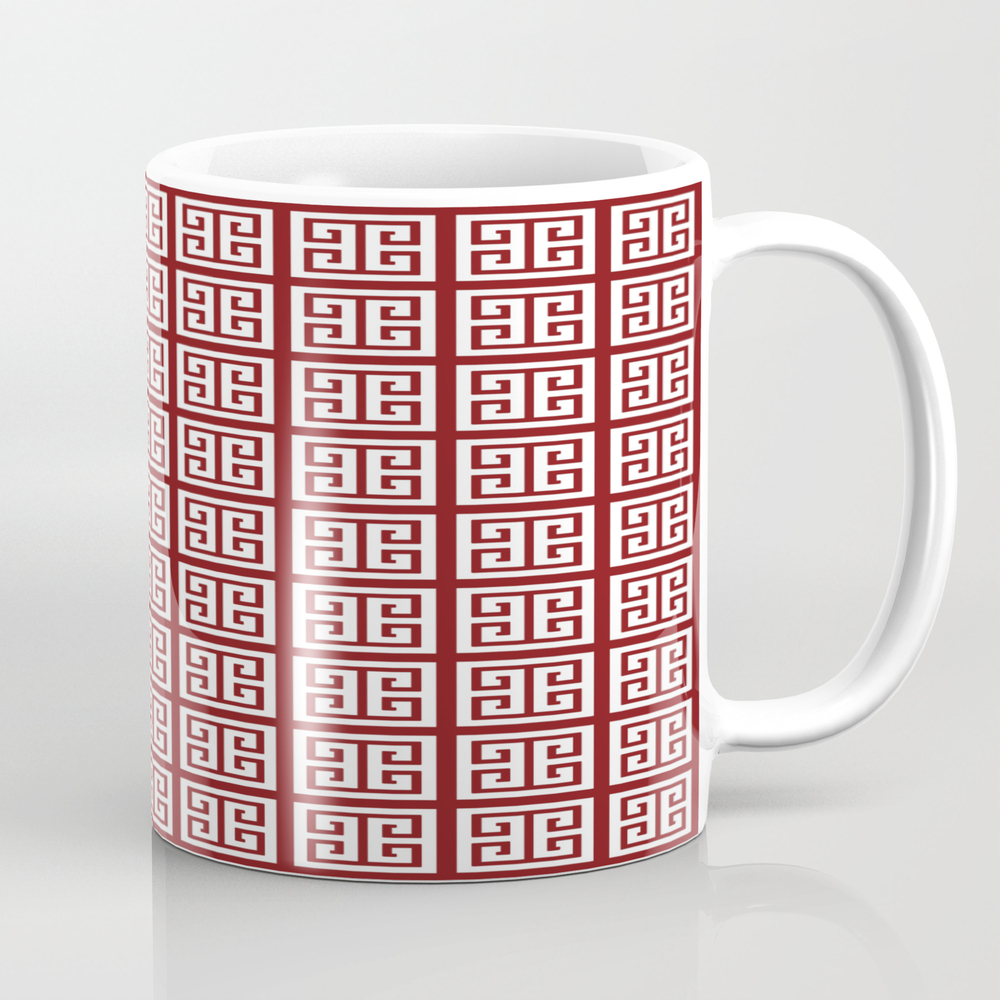 Maroon Red Greek Key Pattern Design Mug by Skylinesquirrel MUG9113438