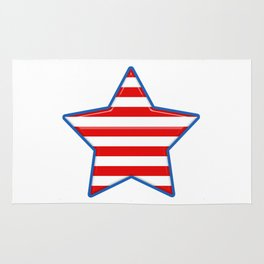 Patriotic Star Blue Border Red and White Stripes Rug