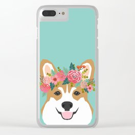 Corgi Portrait - dog with flower crown cute corgi dog art print Clear iPhone Case