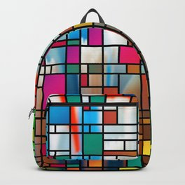 Abstract Modern Art Grid Pattern Backpack