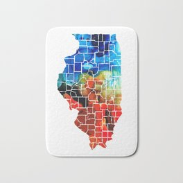 Illinois - Map Counties by Sharon Cummings Bath Mat