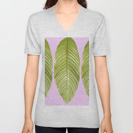Three large green leaves on a pink background - vivid colors Unisex V-Neck
