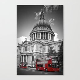 LONDON St. Paul's Cathedral & Red Bus Canvas Print