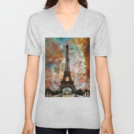 The Eiffel Tower - Paris France Art By Sharon Cummings Unisex V-Neck