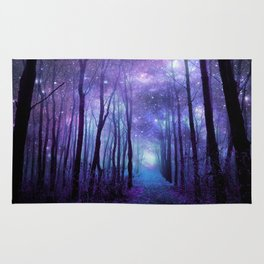 Fantasy Forest Path Icy Violet Blue Rug