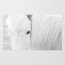 White Horse Photograph Rug