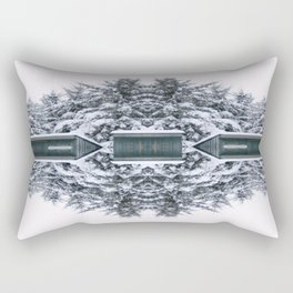Winter Kaleidoscope Teal and White Snow Covered Trees Rectangular Pillow