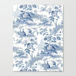 Powder Blue Chinoiserie Toile Canvas Print