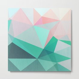 Geometric Landscape - Pink and Green Metal Print