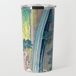 Katsushika Hokusai Waterfall Woodblock Print Travel Mug