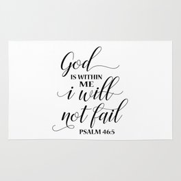 Christian,Bible Quote,God is within me I will not fail Rug