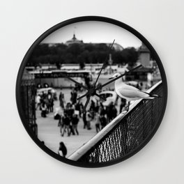 Perched seagull in Paris, France (Jardin des Tuileries) Wall Clock